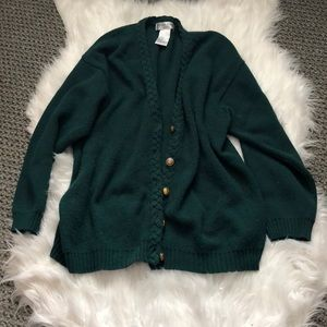 Green thick knit cardigan